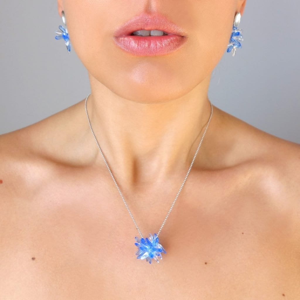 transparent & blue sapphire glass pearls